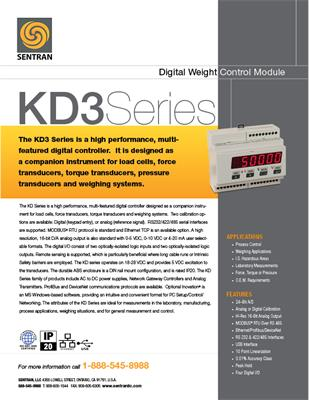 Datasheet on KD3 (Digital Weight Controller