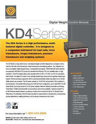 Datasheet on KD4 (Digital Weight Controller