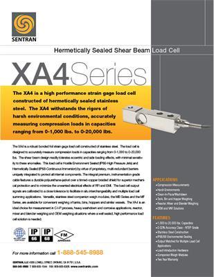 Datasheet on XA4 (Shear Beam